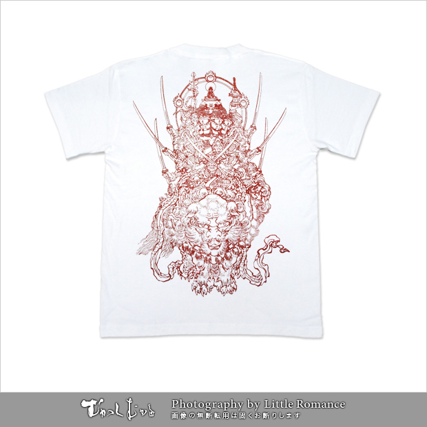 メンズ和柄半袖Tシャツ,獅子紋