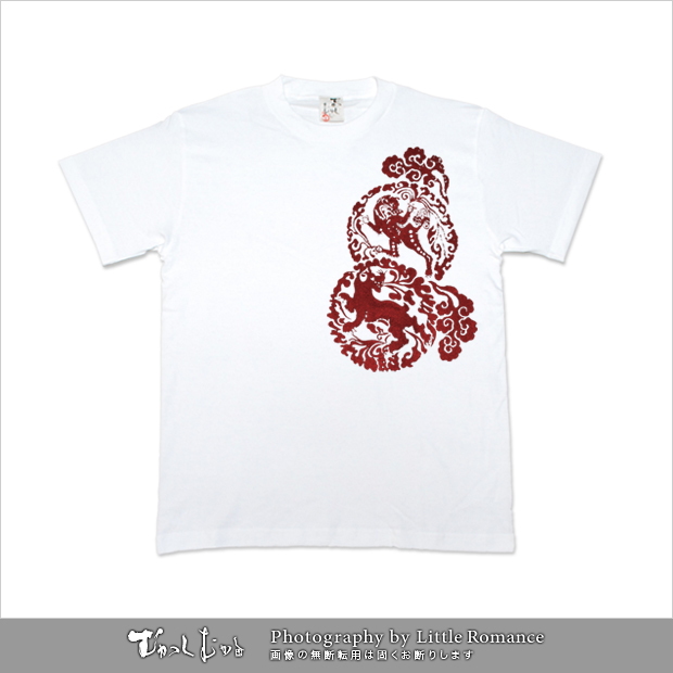 メンズ和柄半袖Tシャツ,古唐獅子