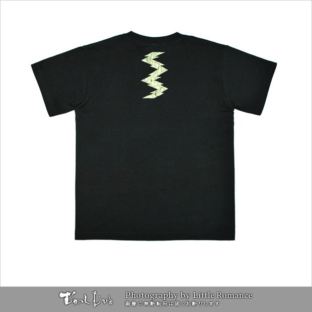 メンズ和柄半袖Tシャツ,幾何学波雷紋